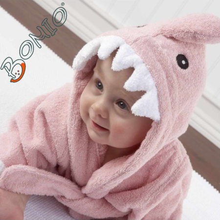 - 006 01P2 450x450 - Baby Kapuzenbademantel – Hai rosa
