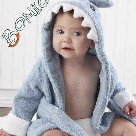 - 006 02P2 450x450 - Baby Kapuzenbademantel – Hai