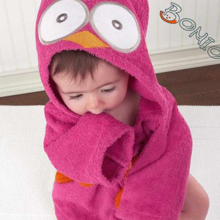 baby - 006 05P3 450x450 - Baby Kapuzenbademantel – Eule pink