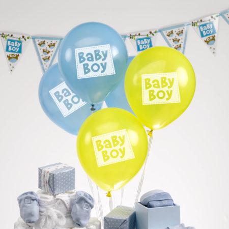 luftballons - MAX LRS 672755 LOBS Baby Boy Balloons 450x450 - Luftballons – Boy – Blau/Gelb