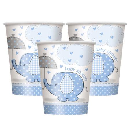 pappbecher - UMBLCUPS 450x450 - Pappbecher Babyelefant – Blau