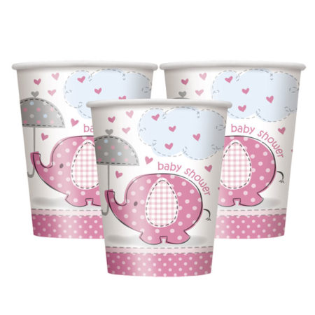 pappbecher - UMPICUPS 450x450 - Pappbecher Babyelefant – Rosa