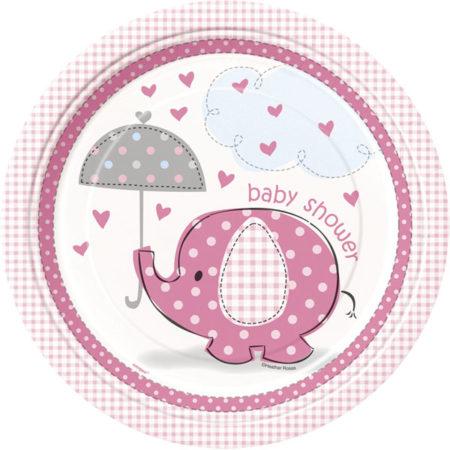 pappteller - UMPIPLAT 450x450 - Pappteller Baby Elefant – Rosa