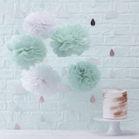 pom poms - HW 821 Mint White Tissue Pom Poms  450x450 - Pom Poms – Hello World