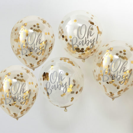babyparty deko - OB 108 Gold Confetti Oh Baby Balloon 450x450 - Konfetti-Luftballons Gold – Oh Baby!