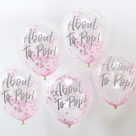konfetti - OB 119 About To Pop Pink Confetti Balloons 450x450 - Konfetti-Luftballons Rosa – Oh Baby!