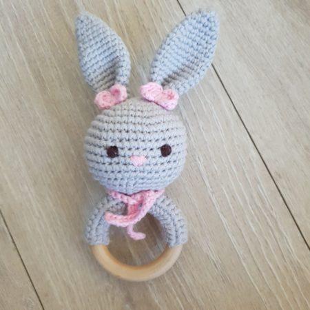 beißring - Hase rosa2 450x450 - Beißring Rassel Hildi Hase