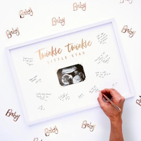 bilderrahmen - babyshower frame 450x450 - Bilderrahmen-Gästebuch Twinkle Twinkle