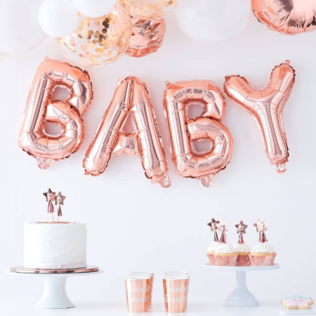 "folienballon - rose gold baby balloon bunting 450x450 - Folienballon Girlande ""Baby"" – rosegold"