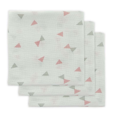 spucktuch - Mulltuch dreieck grau rosa - Mulltuch / Spucktuch Dreiecke Grau/Rosa 3er Set